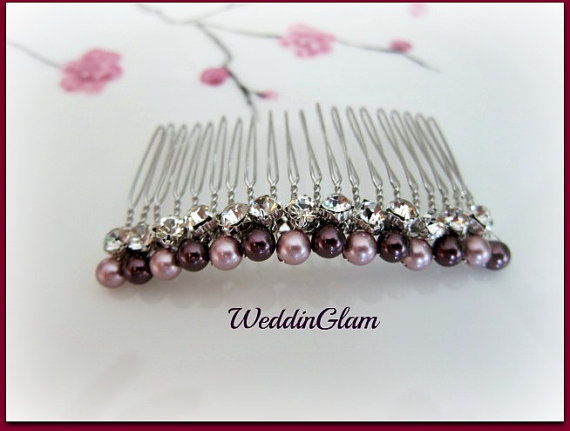 Wedding - Bridal Hair Comb, Wedding Hair Accessories, Swarovski Burgundy Pink Pearls, Rhinestones, Silver Comb, Elegant updo, pearl comb
