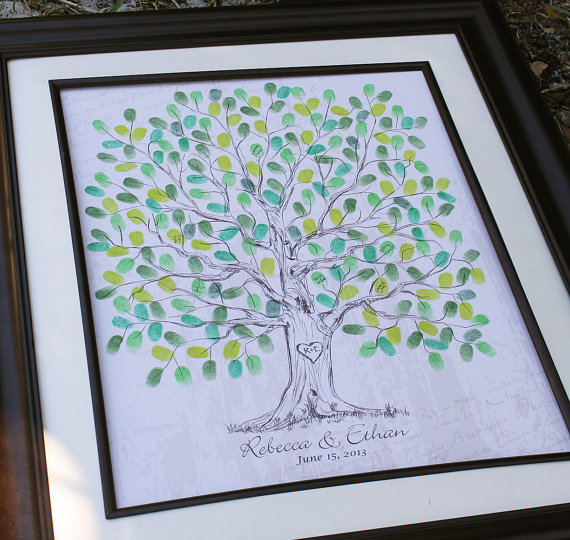 Mariage - Fingerprint Wedding Tree Thumbprint Wedding Guest Book Tree Unique Guest book alternative Vintage Wedding Tree Unique Custom Wedding Gift