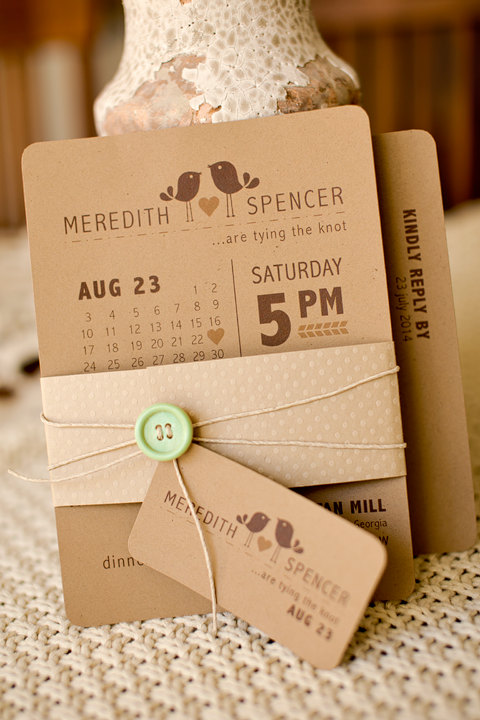 زفاف - Modern rustic inspired bird themed printable wedding invitation with calendar style wedding date