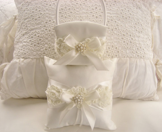 Mariage - White Wedding Ring Pillow and Flower Girl Basket Set Shabby Chic Vintage Ivory and Cream Custom Colors too