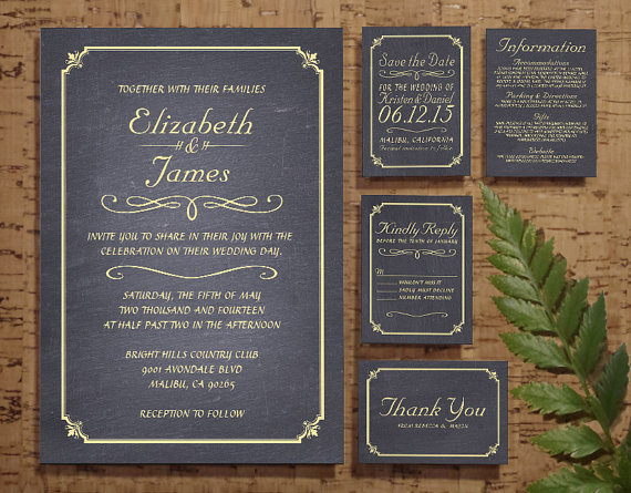 Mariage - Gold Chalkboard Wedding Invitation Set/Suite, Invites, Save the date, RSVP, Thank You Cards, Response, Printable/Digital/PDF or Printed