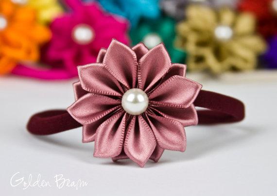 زفاف - Dusky Rose Baby Headband - 16 Petals Dusky Rose Satin Flower Handmade Headband - Infant to Adult Headband