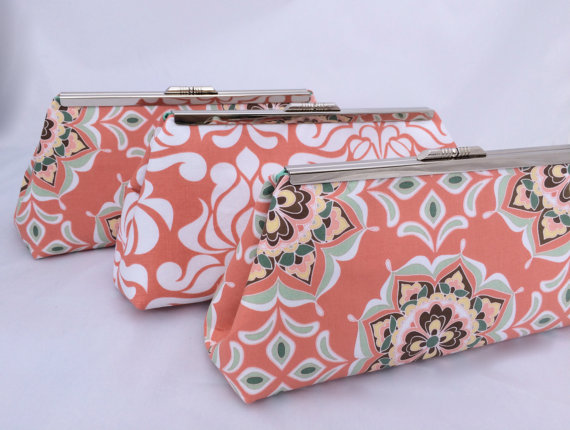 Wedding - Coral Bridesmaids Gift Custom Clutch- Custom Design your Own Wedding Party gift in various patterns and colors