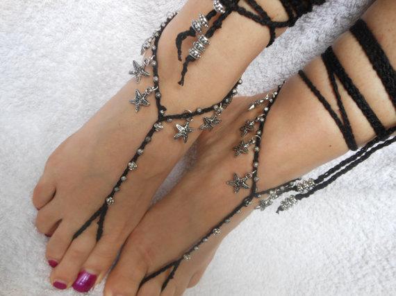 Mariage - Crochet Barefoot Sandals Beach Wedding  Yoga Shoes Foot Jewelry Black Silver