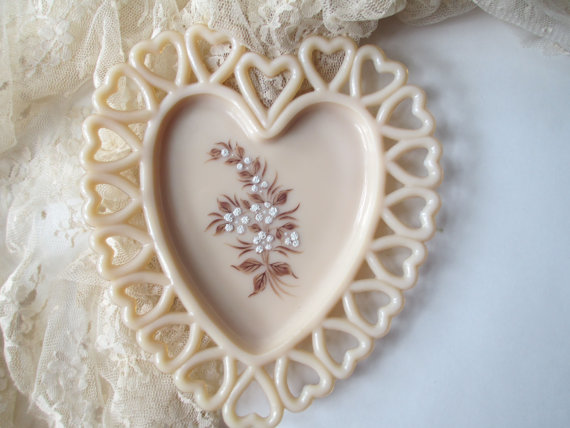 Wedding - Vintage Westmoreland Coraline Milk Glass Beaded Bouquet Heart Plate