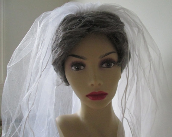 Свадьба - Bridal Veil Two Layer Blusher Ivory Tulle Veil Wedding Headpiece Satin Edged Bride's Accessory