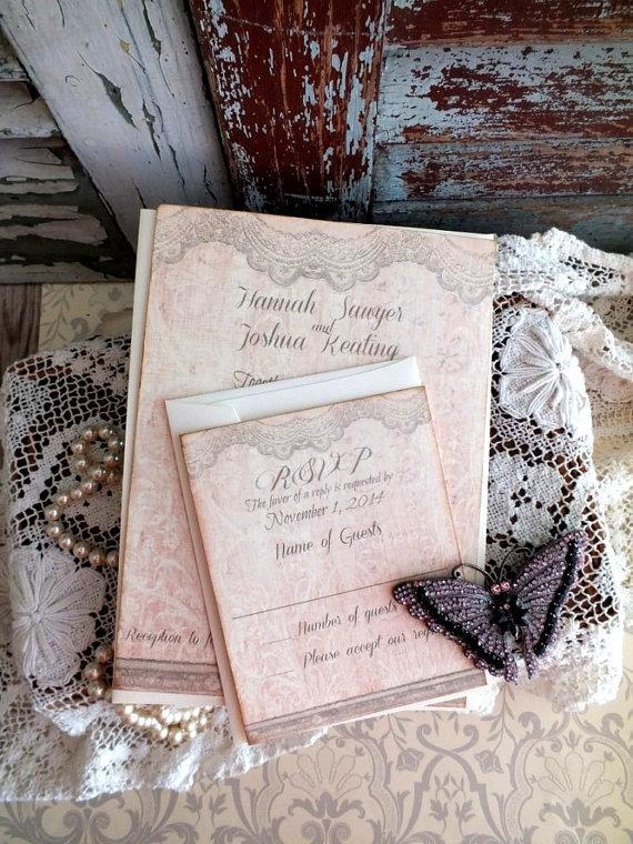 Mariage - Vintage Lace Wedding Invitation Handmade by avintageobsession on etsy