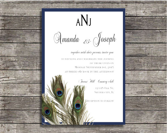 Mariage - wedding invitations Peacock monogram wedding invite