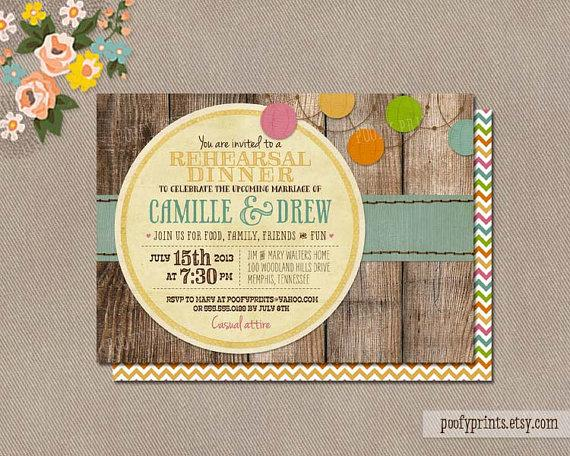Wedding - Rustic Rehearsal Dinner Invitations - Rustic BBQ Mixed Type Printable Invitations - Camille Collection