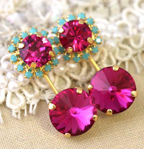 Mariage - Pink Turquoise Crystal earrings, Crystal ear jackets, Fuchsia mint Turquoise dangle earrings, Trending jewelry, Swarovski Bridal earrings