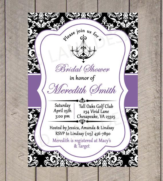 Bridal Shower Printable Invitation Chandelier Black White