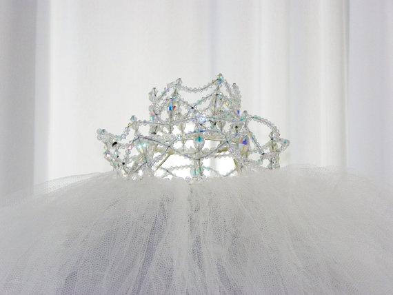 Свадьба - Bridal Headpiece Wedding Veil Antique Birdcage Tulle Crystals Iridescent Pearls Wire Construction Birdcage Design by Voila Vintage Lingerie