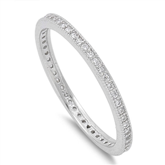 Wedding - 2MM Stackable Band Solid 925 Sterling Silver Round Clear Diamond CZ Channel Setting Ladies Wedding Engagement Anniversary Ring Size 4-10