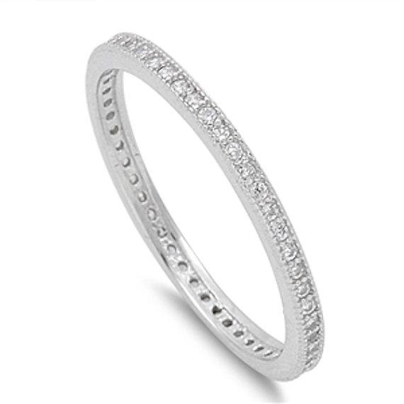 زفاف - 2MM Stackable Band Solid 925 Sterling Silver Round Clear Diamond CZ Channel Setting Ladies Wedding Engagement Anniversary Ring Size 4-10