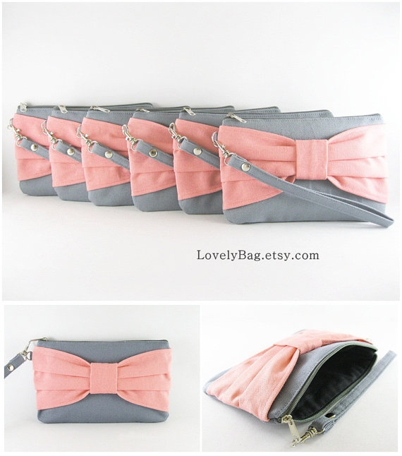 Wedding - SUPER SALE - Set of 4 Gray with Peach Bow Clutches - Bridal Clutches, Bridesmaid Wristlet, Wedding Gift,Cosmetic Bag - Made To Order