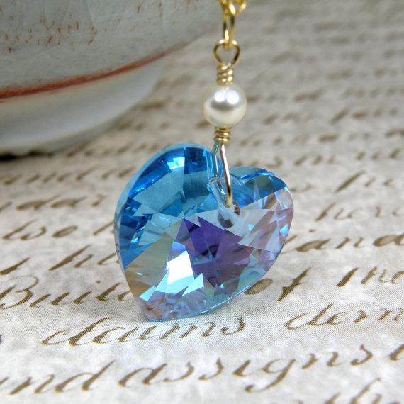 زفاف - Teal Heart Necklace, Aquamarine Crystal, Swarovski Heart Pendant, Gold Filled, Wedding Jewelry, March Birthstone Birthday Gift, Handmade
