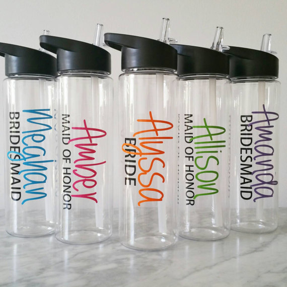 personalized bridal water bottles wedding party water