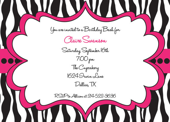 Hot Pink And Black Zebra Print Girls Birthday Party Invitation