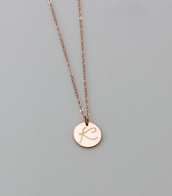 Personalized circle necklace rose gold initial necklace monogram personalized circle necklace rose gold initial necklace monogram silver rose gold charm necklace bridesmaid necklace large disc aloadofball Gallery