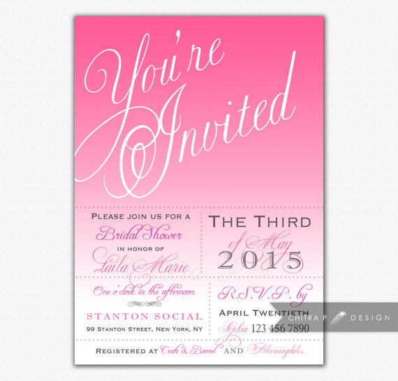 Mariage - Pink Bridal Shower Invitations - Printed or Printable, Wedding Invite Typography Ombre Girl Princess First Birthday Rose Brunch Tea - #022