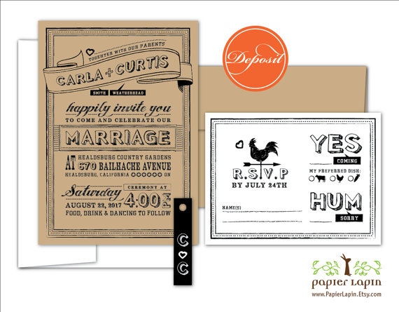 Hochzeit - Chalky - quirky kraft wedding invitation, eco friendly, sustainable, black tag, mix & match, handmade, affordable - DEPOSIT