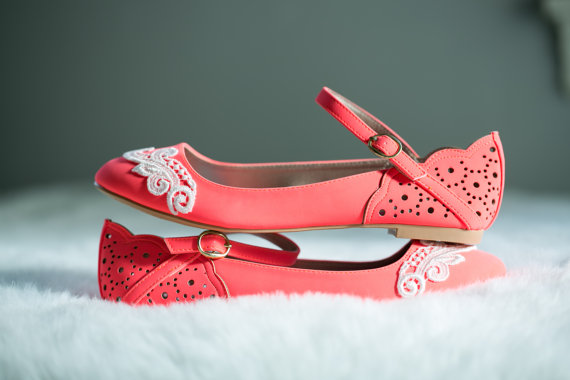 Neon Coral Ballet Flats Wedding Bridal Lace Shoes With Ivory US Size 75