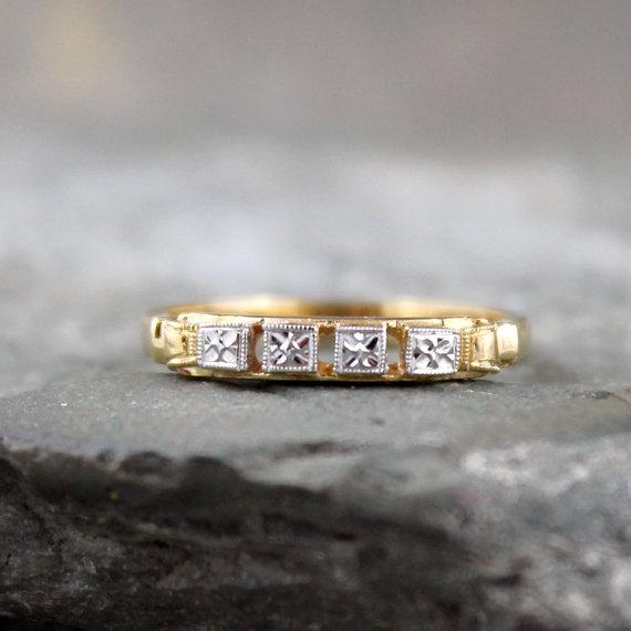 زفاف - Vintage Wedding Band - 14K/18K Gold - Circa 1960's - Retro Wedding Ring - Vintage Jewellery from A Second Time