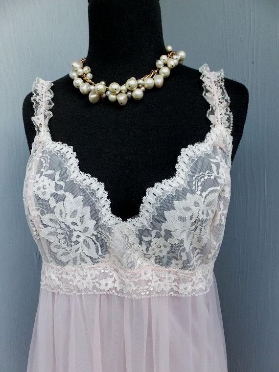 Свадьба - ELEGANT Long Pink Chiffon Nightgown by Evette, Small/ Medium