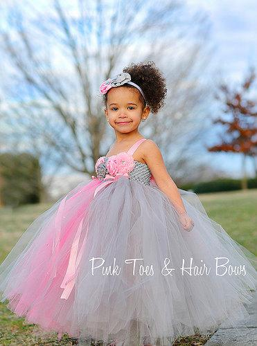Pink And Gray Flower Girl Dress- Lace Pink Flower Girl Dress ...
