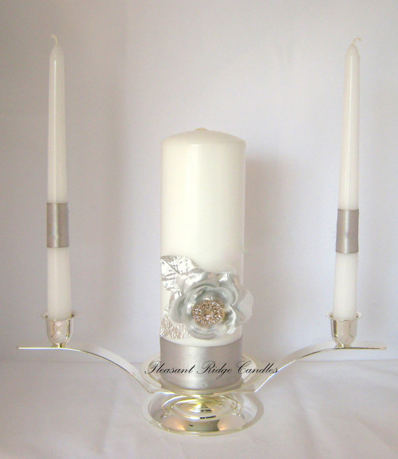 Mariage - Silver Unity Candle Wedding Candle Rose Unity Candle Rhinestone Unity Candle Bling Unity Candle Wedding Unity Candle Cheap Unity Candle