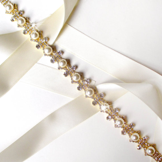 Wedding - Flirty Pearl and Rhinestone Bridal Belt Sash in GOLD - White Ivory Satin Ribbon - Rhinestone - Wedding Dress Belt - Extra Long
