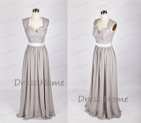Hochzeit - Newest 2015 Silver Grey Long Lace Bridesmaid Dress/A Line Chiffon Prom Dress/Lace Prom Dresses/Simple Lace Grey Bridesmaid Dress DH218