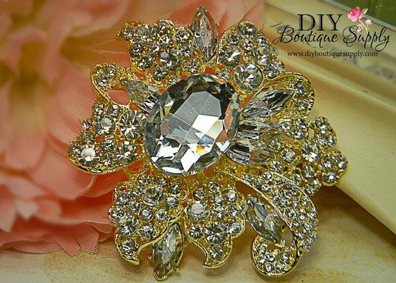Wedding - Huge Gold Crystal Brooch - Wedding Jewelry - Wedding Brooch Pin Accessories - Rhinestone Brooch Bouquet - Bridal Brooch Sash Pin 78mm 335220