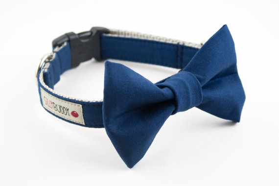 Свадьба - Solid Navy Blue Wedding Dog Bow Tie Collar