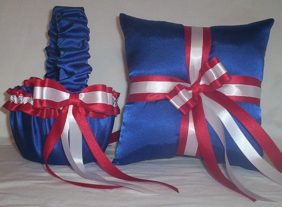 Blue horizon satin with red and white ribbon trim flower girl basket blue horizon satin with red and white ribbon trim flower girl basket and ring bearer pillow mightylinksfo