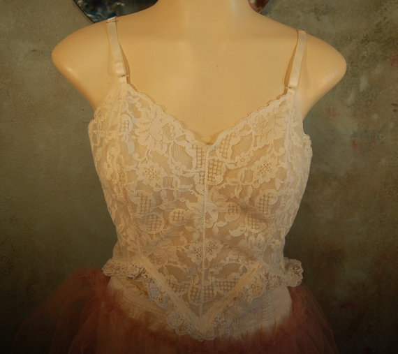 Wedding - Handmade From Vintage Raw Lace Top Wedding Camisole size 32