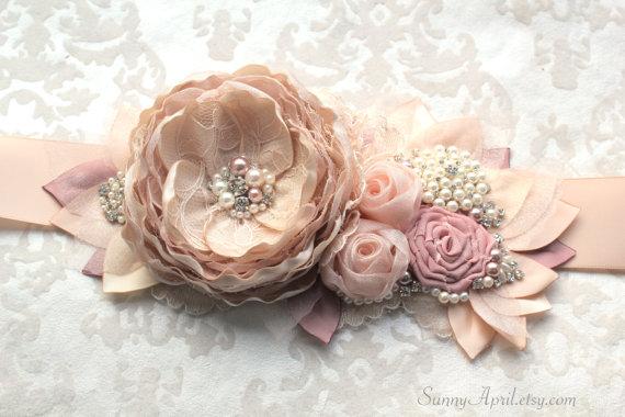 "Mariage - Blush Dusty Rose Wedding Ribbon Sash ""Eva""/ Bridal Sash/ Free Shipping on Additional Items"