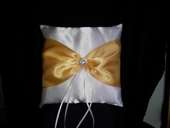 Mariage - White Yellow Square Satin Ring Bearer Pillow Bow Rhinestones Wedding Bridal