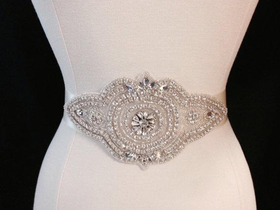 Mariage - Bridal Sash - Wedding Dress Sash Belt - Rhinestone Ivory Wedding Sash - Ivory Rhinestone Bridal Sash