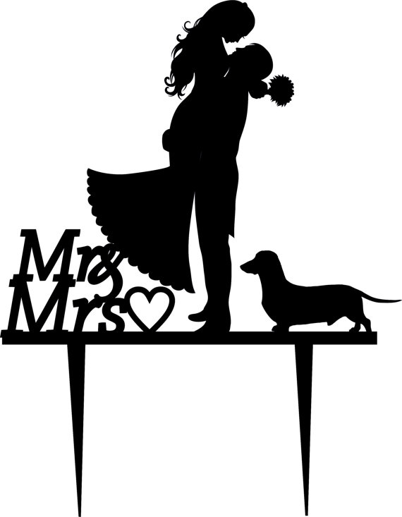 Wedding wedding cake topper silhouette groom and bride acrylic cake