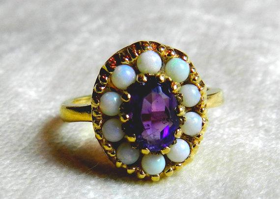 Wedding - Opal Ring Amethyst Ring, Antique Opal Amethyst Ring 14K, Alternative Engagement Ring October February Birthday