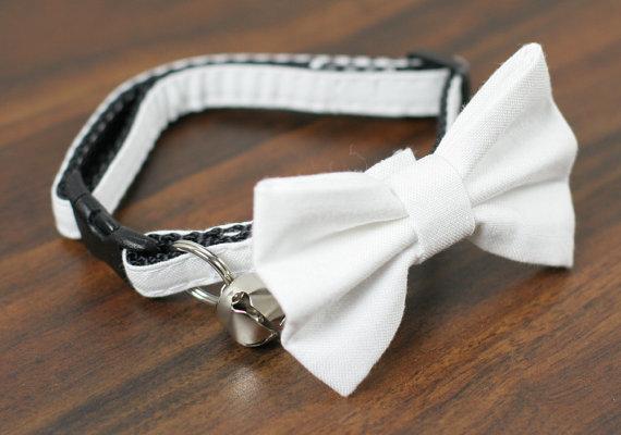Свадьба - Cat Collar with Bow Tie - Simply White