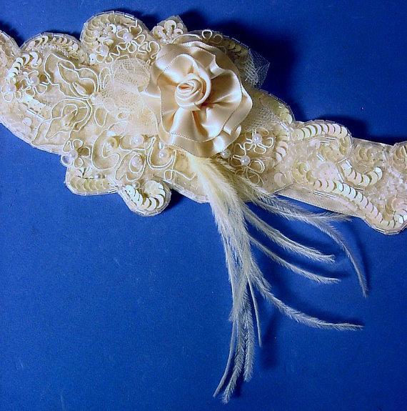 Свадьба - wedding sash Annabella  A Peterene Original Ivory Bridal sash