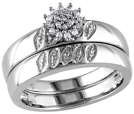 Wedding - Allura 1/10 CT. T.W. Diamond Bridal Set in Sterling Silver (GH) (I2-I3)