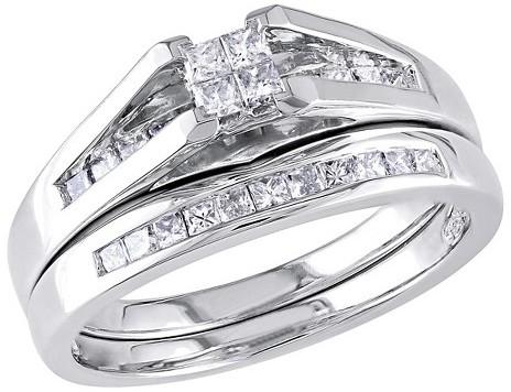 Wedding - Allura 1/2 CT. T.W. Princess Cut Diamond Bridal Set in 10K White Gold (GH) (I2-I3)