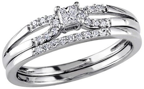 Mariage - Allura 1/5 CT. T.W. Princess and Round Diamond Bridal Set in Sterling Silver (GH) (I2-I3)