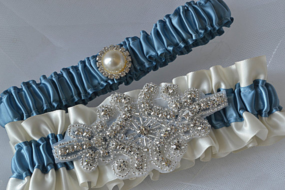 Mariage - Wedding Garter Set - Antique Blue Garters And Ivory Satin With Rhinestone Embellishments, Garter Belts, Bridal Garter Set
