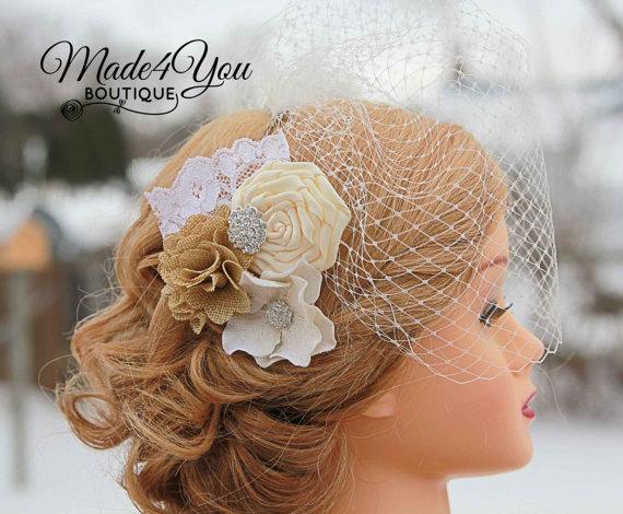 Mariage - 53 Different Colors-Burlap Ivory Wedding Veil - Birdcage Wedding Veil - Wedding Headpiece