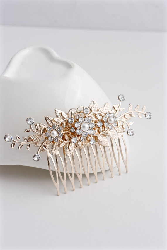 Wedding - Wedding Hair Accessory Rose Gold Bridal Comb Leaf wedding Comb Pink Gold Crystal Comb Decorative Hair Comb GENOA DELUXE