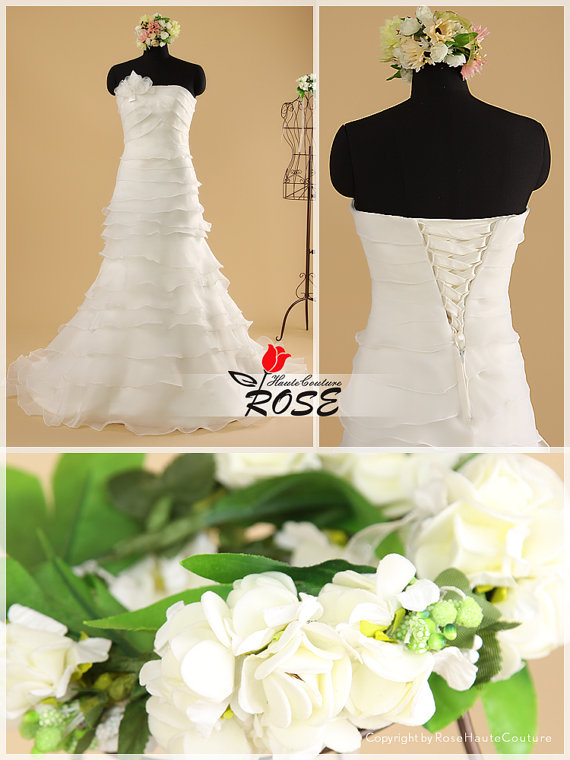 Mariage - Strapless Multi-Tiered Layered Organza Slim A-line Bridal Gown Wedding Dress Style WD042